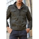 Mens Casual Solid Color Long Sleeve Chest Pocket Zip Placket Cargo Jacket