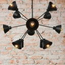 Black Starburst Chandelier Lighting Industrial Stylish 9/12/15 Lights Metal Ceiling Light Fixture with Cone Shade