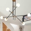 Black Crossed Line Chandelier Lamp Simple Style 6 Heads Metal Hanging Light Fixture with Sphere Opal Glass Shade