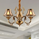 Metal Armed Chandelier Lighting Colony 3/5/6 Bulbs Hanging Light Fixture in Gold with Frosted Glass Shade