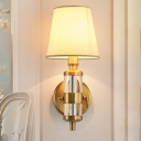 Barrel Fabric Shade Sconce Light Vintage 1 Head Bedroom Wall Mounted Light Fixture in Brass
