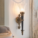 Brass 1 Light Wall Lighting Lodge Prismatic Translucent Glass Flared Wall Sconce Lamp