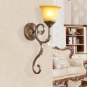 Amber Glass Flared Sconce Lamp Traditional 1 Light Corner Wall Mounted Light Fixture with Swirled Arm