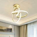 Swirl Flush Light Fixture Simple Style Acrylic Gold LED Ceiling Mounted Light for Corridor
