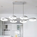 Ring Hanging Light Minimalist Metal 3/6 Heads White Pendant Chandelier in 3 Color Light