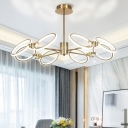 Gold Loop Hanging Chandelier Postmodern 8 Heads Metal Pendant Light Fixture, Warm/White Light