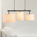 Drum Shaped Fabric Island Lighting Fixture 3 Lights Flaxen Chandelier Lamp for Dining Room