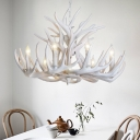 Antler Chandelier Light Rustic 9/12 Heads Resin Ceiling Suspension Lamp in White, 21.5