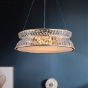 Wide Flare Chandelier Lamp Modernist 4 Bulbs Clear Crystal Suspension Pendant Light
