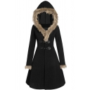 Plain Vintage Long Sleeve Hooded Buckle Front Shearling Fleece Trim Fitted Midi A-Line Wool Coat for Women