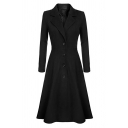 Simple Fashion Ladies' Long Sleeve Notch Lapel Collar Button Down Pleated Plain Long A-Line Wool Coat