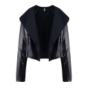 Black Street Fashion Long Sleeve Exaggerate Collar Zipper Detail Relaxed Open Front Jacket for Ladies