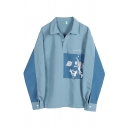 Trendy Street Girls' Balloon Sleeve Lapel Collar Button Front CUZ WE ARE JUST OURSELVES Letter Astronauts Printed Contrasted Oversize Shirt in Blue