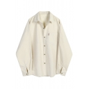 Casual Plain Blouson Sleeve Lapel Collar Button Down Pocket Patched Loose Shirt for Women