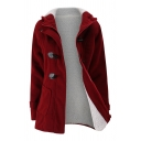Classic Girls' Long Sleeve Hooded Zipper Front Sherpa Lined Slim Fit Plain Midi Duffle Coat