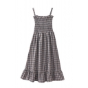 Cute Girls' Sleeveless Plaid Patterned Ruffled Trim Fitted Pleated Midi A-Line Cami Dress