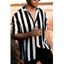 Mens Street Fashion Lapel Collar Short Sleeve Loose Fit Black and White Striped Shirt