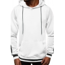 Mens Casual Fashion Stripe Trim Long Sleeve Relaxed Fit Drawstring Hoodie with Pocket