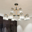 2 Tiers Clear Tri-Sided Crystal Rod Hanging Light Traditional 12 Heads Living Room Chandelier Lamp