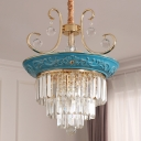 3 Tiers Dining Room Chandelier Light Traditional Three Sided Crystal Rod 3/5 Heads Blue Hanging Light Kit