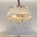 4 Head Crystal Drop Pendant Chandelier Traditional Beige/Gray Candelabra Bedroom Hanging Light with Trifle Fabric Shade