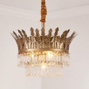3/4 Bulbs 2-Tier Pendant Light Vintage Gold/Antique Bronze Crystal Chandelier Lamp for Bedroom