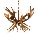 Antler Chandelier Lamp Rustic Resin 4 Heads Ceiling Pendang Light in Brown with Adjustable Metal Chain