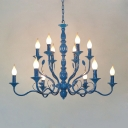 Blue Candle Chandelier Lighting Vintage Metal 10/12/16 Bulbs Restaurant Hanging Ceiling Light