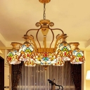 Brown Flower Chandelier Lamp Mediterranean 8/11 Lights Stained Glass Suspension Pendant Light