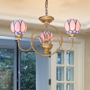 Gold 3/5/6 Heads Pendant Chandelier Tiffany Handcrafted Stained Glass Hanging Lamp for Living Room