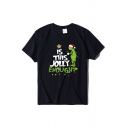 Women's Fashion Short Sleeve Crew Neck Letter IS THIS JOLLY ENOUGH Green Man and Star Print Relaxed Tee