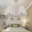 Fabric Barrel Chandelier Light Fixture Modern 5 Heads Chrome Hanging Ceiling Light