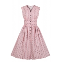 Cute Pink Sleeveless V-Neck Button Down Floral Pattern Midi Pleated Flared Dress for Girls