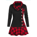Chic Girls' Long Sleeve Exaggerate Collar Plaid Printed Patched Button Front Short Pleated A-Line Dress