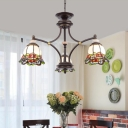 Black Bell Chandelier Light Decorative 3/5/6 Heads Hand-Cut Stained Glass Down Lighting Pendant for Living Room