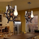 Nautical Steering Wheel Pendant Lamps Wood and Glass 2 Heads Hanging Ceiling Lights for Restaurant