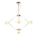 Clear/Amber Glass Diamond Hanging Chandelier Modern Style 4/5/6 Lights Pendant Lighting Fixture in Copper/Brass/Gold for Dining Room