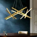 Crossed Line Acrylic Ceiling Light Postmodern Gold/Black 25.5