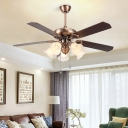 Opaline Glass Oil Rubbed Brass Ceiling Fan Blossom 5 Heads Vintage Semi Flush Light Fixture for Living Room