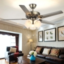 5 Lights Bell Ceiling Fan Retro Stainless Steel Opal Blown Glass Semi Mount Lighting for Living Room