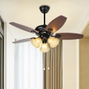 Traditionalism Blossom Ceiling Fan Lamp 3 Heads Frosted White Glass Semi Flush Mount Light Fixture in Brown