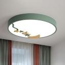 Circular Metal Ceiling Mount Light Fixture Macaron White/Green/Gray LED Flush Mount in Warm/White Light, 12