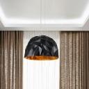 Metal Domed Hanging Light Modern 1 Light Suspension Pendant in White/Black for Dining Room