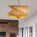 Chinese 1 Head Pendant Lighting Beige Twist Hanging Ceiling Light with Wood Shade