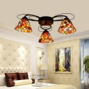 Stained Glass Orange Ceiling Light Bell 3/7/9 Heads Tiffany Semi Flush Mount Light for Bedroom