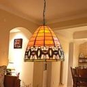 Tapered Hanging Lamp Kit Mediterranean Stained Art Glass 1 Light Orange Ceiling Pendant