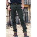 Military Style Plain Zipper Fly Loose Fit Straight Leg Pants Mid-Rised Work Pants
