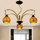 Gold 3/6/8 Lights Chandelier Mediterranean Stained Art Glass Globe Pendant Light Fixture for Living Room