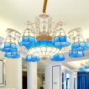 Blue 3/5/9 Lights Hanging Chandelier Mediterranean Stained Art Glass Grid Patterned Ceiling Pendant Light