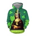 New Arrival Oil Paint Figure Irish Shamrock 3D Printed Long Sleeves Loose Fit Pullover Hoodie